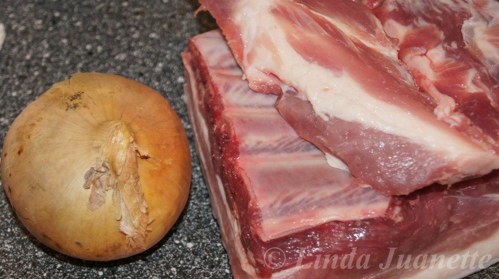 Jeg bruker kjøtt og flesk fra en slagside når jeg lager leverpostei.