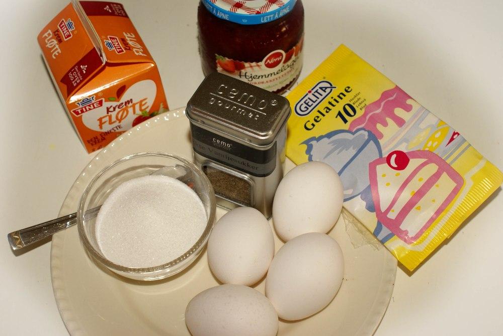 Ingrediensene til Oldemors dessert.