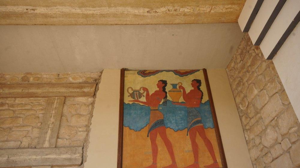 Fresker på et av partiene på Knossos.