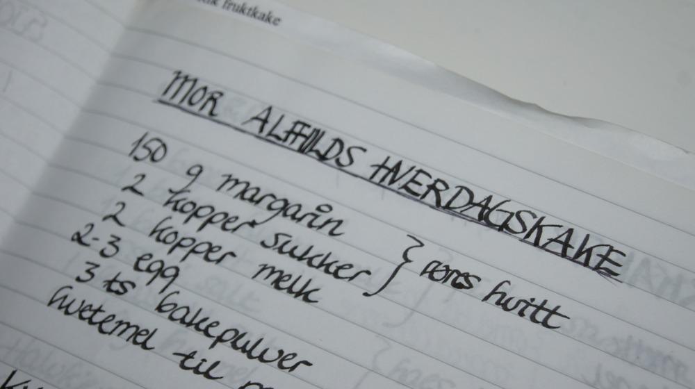 Oppskrift på mor Alfhilds hverdagskake.
