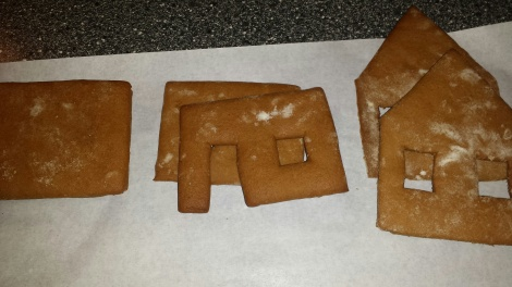 I år bakte yngstesønnen pepperkakehus ut fra eget mønster.