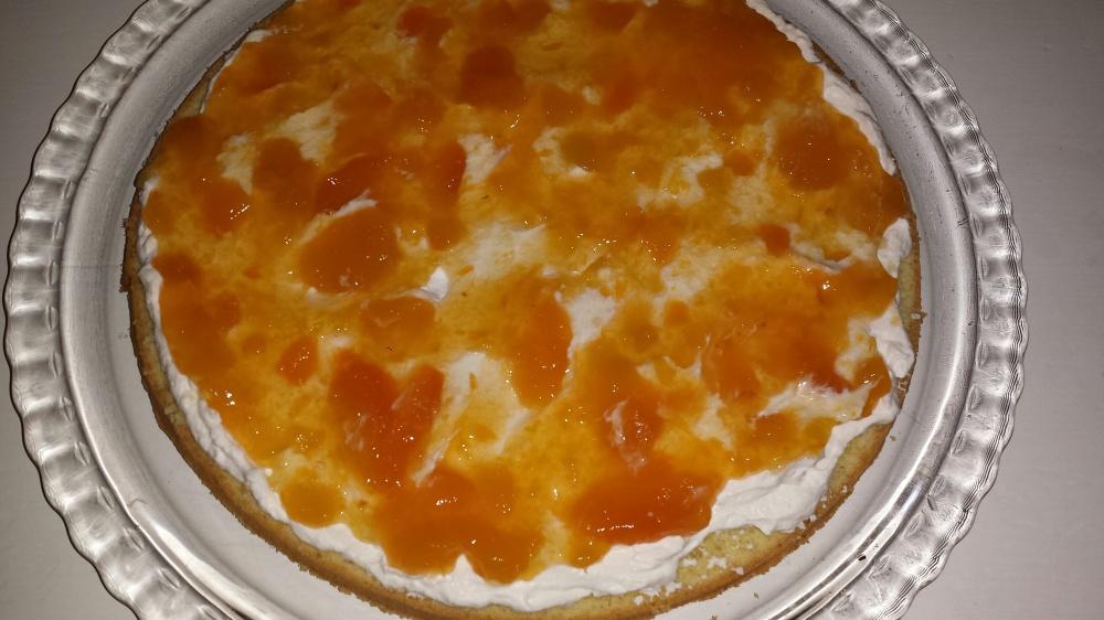 Bre et tynt lag pisket kremfløte over bunnen, og deretter et lag med aprikossyltetøy.