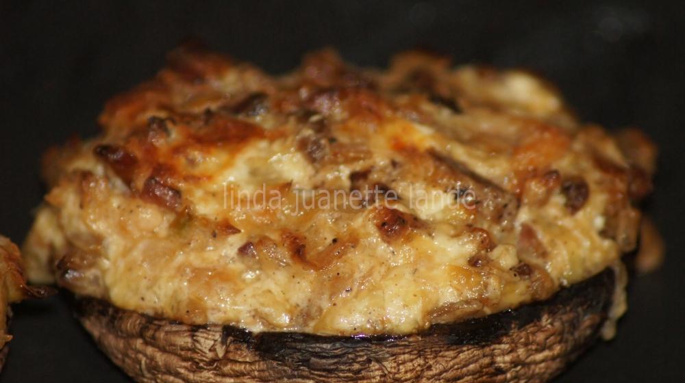 Portabella fylt med reker, bacon og ost. Nyyydelig!