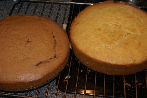 En lys og en mørk kakebunn klar for å settes sammen med glasur.