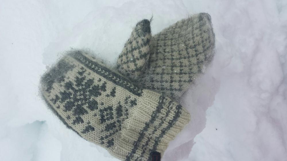 Varmt på hendene og votten er parkert i snøen :-)